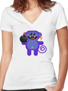 MUNKEY 4  (Cute pet has a bomb and its alight!) Women's Fitted V-Neck T-Shirt