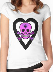 Punky Pink Skull Women's Fitted Scoop T-Shirt