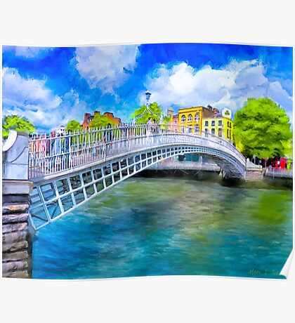 The Ha'Penny Bridge - Historic Dublin Ireland Landmark Poster