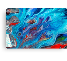 Blue Abstract Fluid Painting Canvas Print