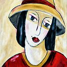 LADY WITH THE RED TRIM HAT by Barbara Cannon  ART.. AKA Barbieville