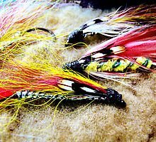 Vintage Fly Fishing Flies  by Marcia Rubin