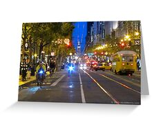 Busy Market Street Evening Greeting Card