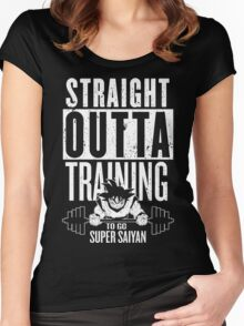STRAIGHT OUTTA TRAINING TO GO SUPER SAIYAN Women's Fitted Scoop T-Shirt