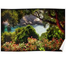 View From The Terrace - The Paleokastritsa Monastery, Corfu, Greece Poster