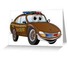 Brown Sheriff Car Cartoon Greeting Card