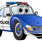 Blue and White Police Car Cartoon by Graphxpro