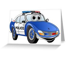 Blue and White Police Car Cartoon Greeting Card