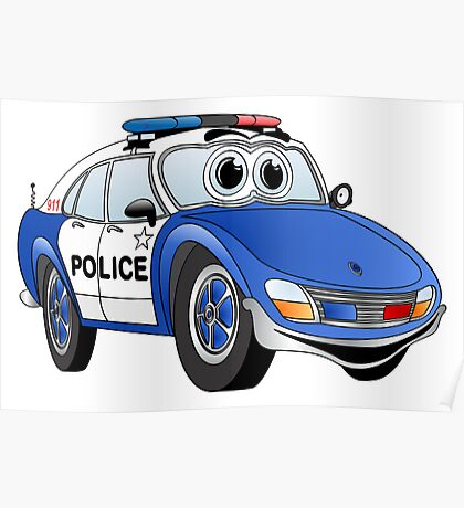 Blue and White Police Car Cartoon Poster
