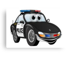 Police Sports Car Cartoon Canvas Print