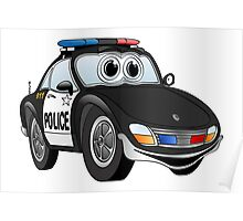 Police Sports Car Cartoon Poster