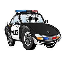 Police Sports Car Cartoon Photographic Print
