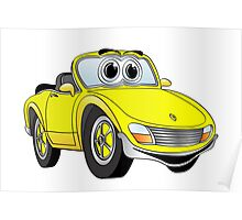 Convertible Yellow Sports Car Poster