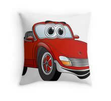 Convertible Red Sports Car Throw Pillow