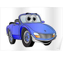 Convertible Blue Sports Car Poster