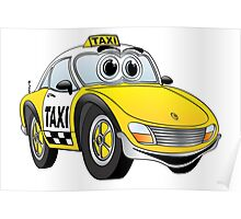 Taxi Cab Sports Car Cartoon Poster