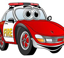 Fire Car Cartoon by Graphxpro