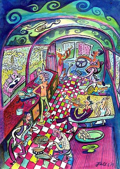 Billy & Barbie on the Wwoofing Bus by juicyapple