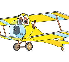 Biplane Yellow Blue Cartoon by Graphxpro