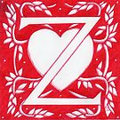Red Heart Letter Z by Donna Huntriss