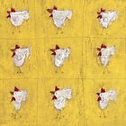 Nine chickens on antique yellow. by Tine  Wiggens