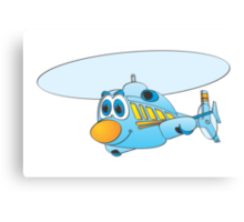 Blue Helicopter Cartoon Canvas Print