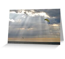 Kites between the sun rays..... Greeting Card