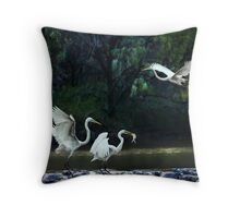 lunching at the weir Throw Pillow