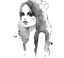 Romantic girl. Watercolor painting. Black and white by Gribanessa