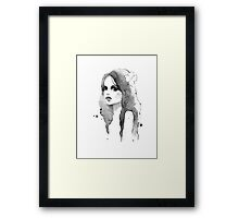 Romantic girl. Watercolor painting. Black and white Framed Print