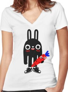 Rabbit Lunch Time Women's Fitted V-Neck T-Shirt