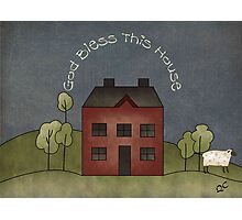 primitive God bless this home  Photographic Print