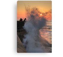 Cromer high tide soaking Canvas Print