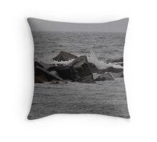 Splash on the Jetty, Coney Island, NY Throw Pillow