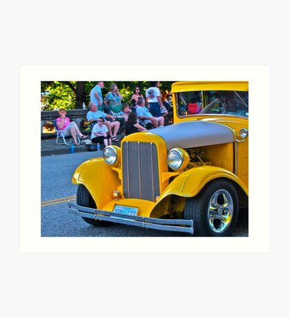 Yellow Vintage Car Art Print