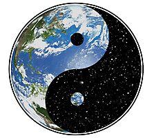 Earth / Space Yin Yang Symbol Photographic Print