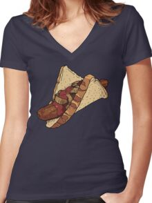 Snags: Snag with Onions and Sauce Women's Fitted V-Neck T-Shirt