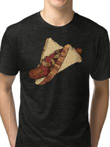Snags: Snag with Onions and Sauce Tri-blend T-Shirt