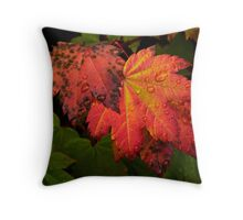 Red Vine Maple Leaves Throw Pillow