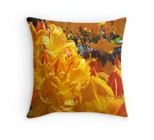Vivid Vibrant Rhododendron Flowers Botanical art prints Throw Pillow