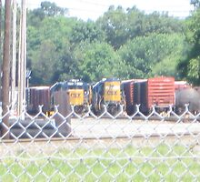 Freight Trains and Cars Parked in Freight Yard by Eric Sanford