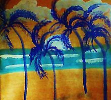 Windy sunset,in the palms on beach, watercolor by Anna  Lewis, blind artist