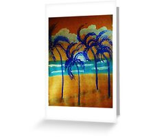 Windy sunset,in the palms on beach, watercolor Greeting Card