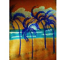 Windy sunset,in the palms on beach, watercolor Photographic Print
