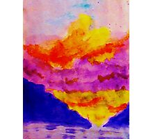 Vibrant sky line , watercolor Photographic Print