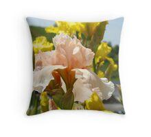 Irises Flowers art prints Peach Pastel Iris Flower Baslee Throw Pillow