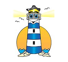 Lighthouse Cartoon Dark Blue White Photographic Print