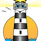 Lighthouse Cartoon Black White by Graphxpro