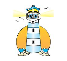 Lighthouse Cartoon Blue Photographic Print