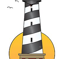 Lighthouse Cartoon Cape Cod by Graphxpro